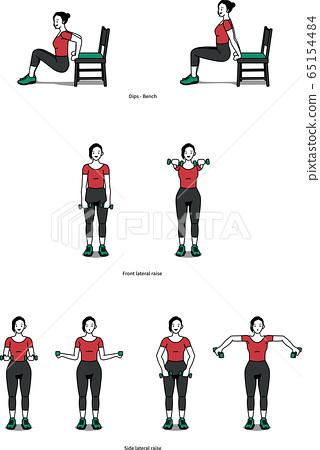 어깨와 팔 운동을 위해 홈 트레이닝으로 딥스 벤치, 프론트 레터럴 레이즈를 하는 여성 65154484