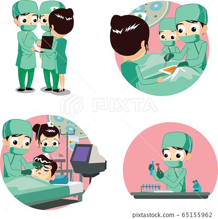 수술실에서 의료복을 입고 수술하는 의사와 간호사 65155962