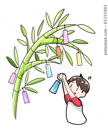 Children who cannot reach bamboo grass 65155993