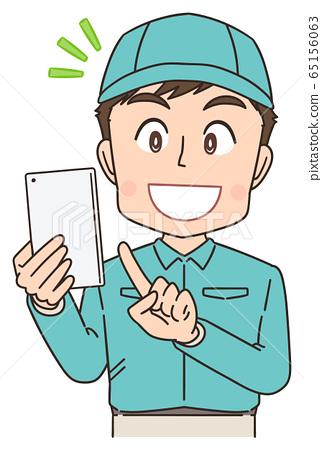 택배 배달원 작업자 남성 만화 일러스트 65156063
