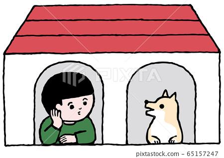 在小屋裡聊天(狗屋),狗和男孩,顏色 65157247