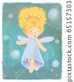 Forest fairy greeting card on green backdrop. Little goldilocks princess magic banner poster. Children fairytale print cover. Fantasy cute elf design. Kids postcard with pixie for Celebration, festive 65157303