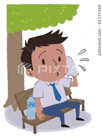 插圖素材:商人在樹蔭下休息 65157489