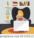 Home office. Woman work in living room at house. Flat vector illustration. 65159312