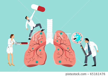 Doctor inspecting the affected of damaged from Coronavirus cells on lung by magnifying glass. Doctor fight CoVID-19 by hypodermic syringe vaccine and capsule drug. 2019-nCoV concept. 65161476