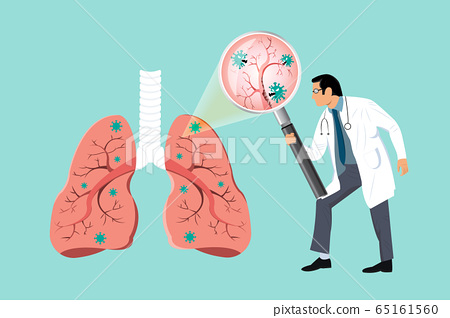 Doctor inspecting the affected on lung by magnifying glass. Damaged from Coronavirus cells. COVID-19 with scary and evil face eating lung. 2019-nCoV concept. 65161560