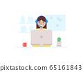Young girl a call operator. Customer suppoting 65161843
