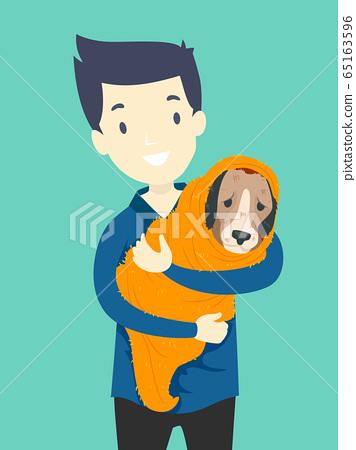 Man Animal Rescue Dog Illustration 65163596