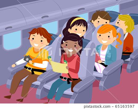 Stickman Teens Travel Airplane Illustration 65163597