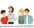 Teens Guy Mom Keep Friends Away Illustration 65163605