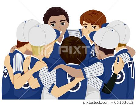 Teens Boys Sports Club Baseball Illustration 65163612