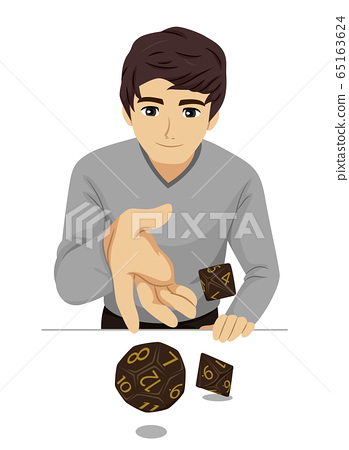 Teen Guy Role Playing Game Dice Illustration 65163624