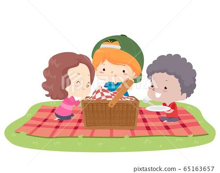 Kids Picnic Basket Blanket Illustration 65163657