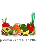 Fasting mimicking diet food, FMD products vector illustration. Vegetables, mushrooms, olives, and nuts. 65163902