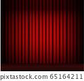 Red curtain on dark light 65164211