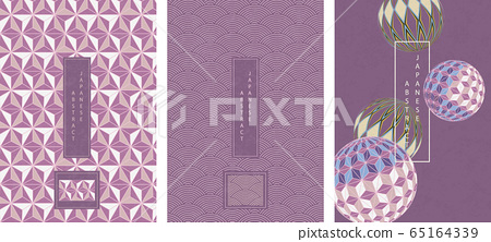 Oriental Japanese style abstract pattern background design geometry wave move polygon star and handballs 65164339