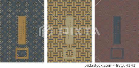 Oriental Japanese style abstract pattern background design geometry elegant seamless flower round scale curve backdrop 65164343