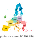 Colorful vector map of EU, European Union. Member states after brexit in 2020 65164984