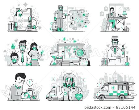 Corona Virus World Pandemic UI Icons Set 65165144