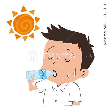일러스트 소재 : 물을 마시는 남성과 태양 열사병 대책 65166161