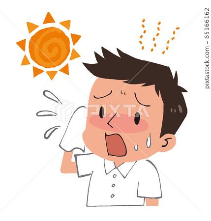 일러스트 소재 : 남성과 태양 열사병 대책 65166162