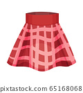 Short Checkered Flared Skirt with Pleats Isolated on White Background Front View Vector Illustration 65168068