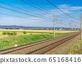 Railroad tracks in the beautiful green landscape 65168416