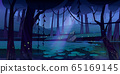 Vector landscape with swamp in night forest 65169145