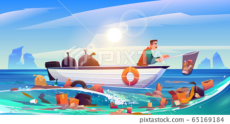Ocean polluted water cleanup eco pollution problem 65169184