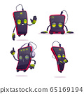 Cute smartphone character in different poses 65169194