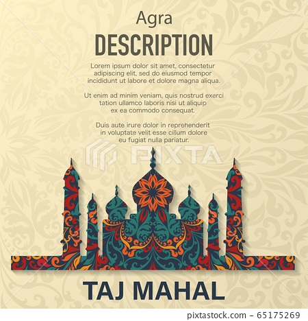 Taj Mahal floral pattern background 65175269
