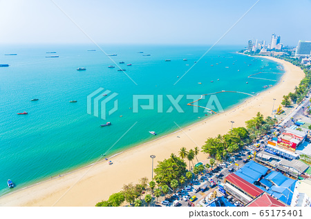 Beautiful tropical beach sea ocean bay and architecture building in Pattaya city Thailand 65175401
