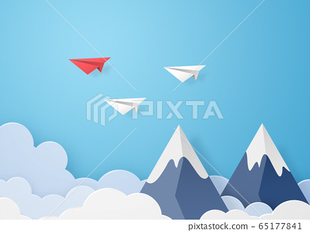 종이 공예 - 하늘 - 구름 - 산 - 봉우리 - 종이 비행기 65177841