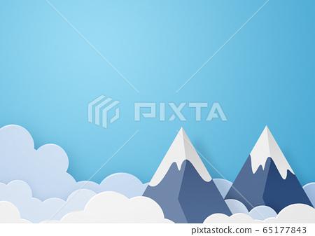 종이 공예 - 하늘 - 구름 - 산 - 봉우리 65177843
