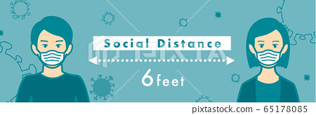 Social distancing set of icons 65178085