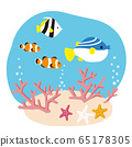 Illustration of coral and fish on the sea floor 65178305