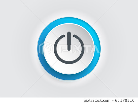Blue power button icon on white background. 65178310