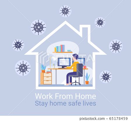 Work from home protection from virus concept.  65178459