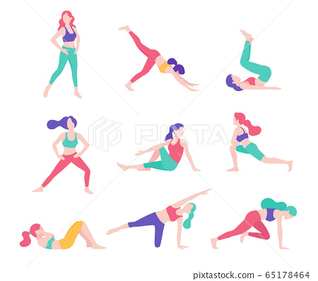 Women fitness exercise posture vector 65178464