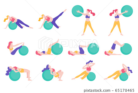 Women fitness exercise ball workout posture vector illustrations. 65178465