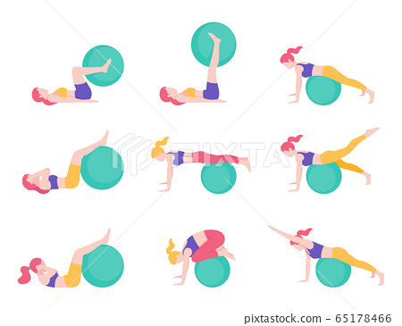 Women fitness exercise ball workout posture vector illustrations. 65178466