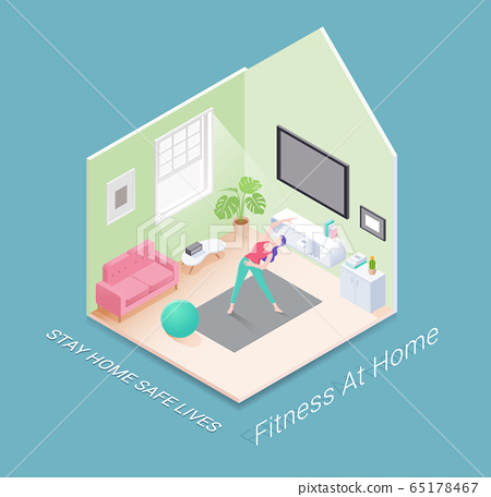 Fitness or workout at home isometric vector illustrations design. 65178467