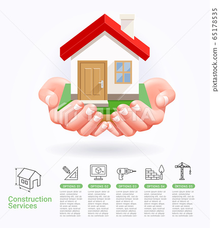 Construction services conceptual two hands with house vector illustrations. 65178535