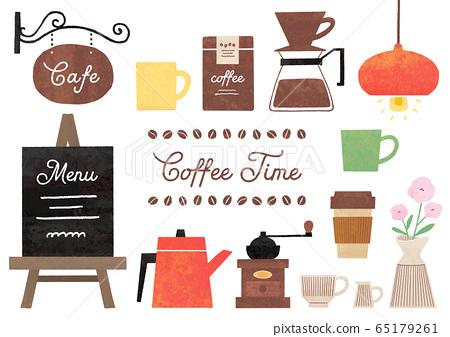 咖啡廳白色背景的水彩插圖 65179261