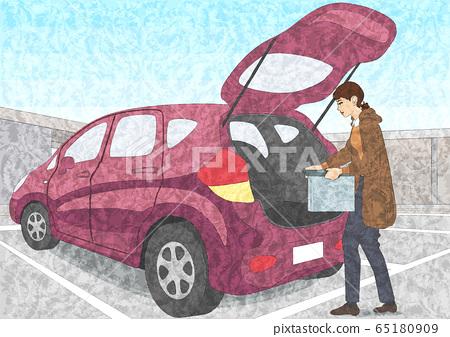 女人在車裡裝行李 65180909