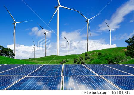 Solar panel and wind turbine farm clean energy. 65181937