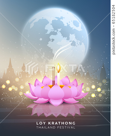 Loy krathong thailand festival at night on bokeh abstract 65182504