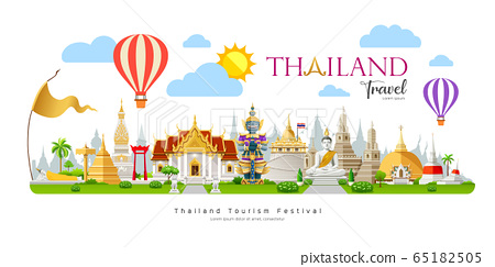 Thailand travel, beautiful building landmark on cloud  65182505