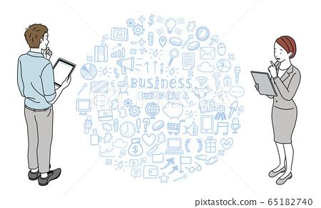 平板電腦的男性和女性業務圖標橫幅插圖 65182740