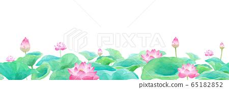Lotus flower watercolor illustration, horizontal seamless pattern 65182852
